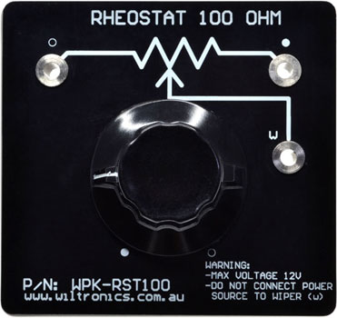 Rheostat 100 Ohm. Warning: Max voltage 12V. Do not connect power source to wiper (W). P/N: WPK-RST100. www.wiltronics.com.au