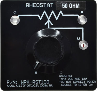 Rheostat 50 Ohm. Warning: Max voltage 12V. Do not connect power source to wiper (W). P/N: WPK-RST50. www.wiltronics.com.au