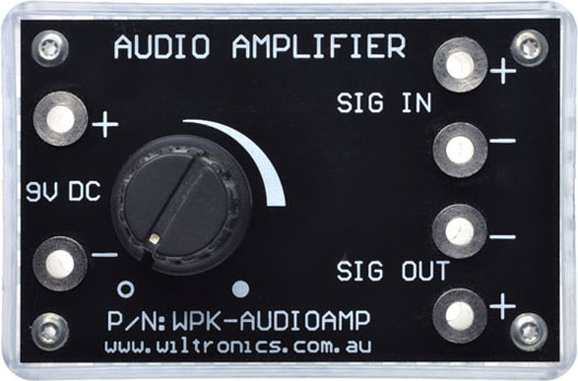 Audio Amplifier. Sig In. 9V DC. Sig Out. P/N: WPK-AUDIOAMP. www.wiltronics.com.au