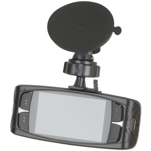 Photo of a 1080p car event recorder with a 2.7 inch LCD display, taken on an angle.