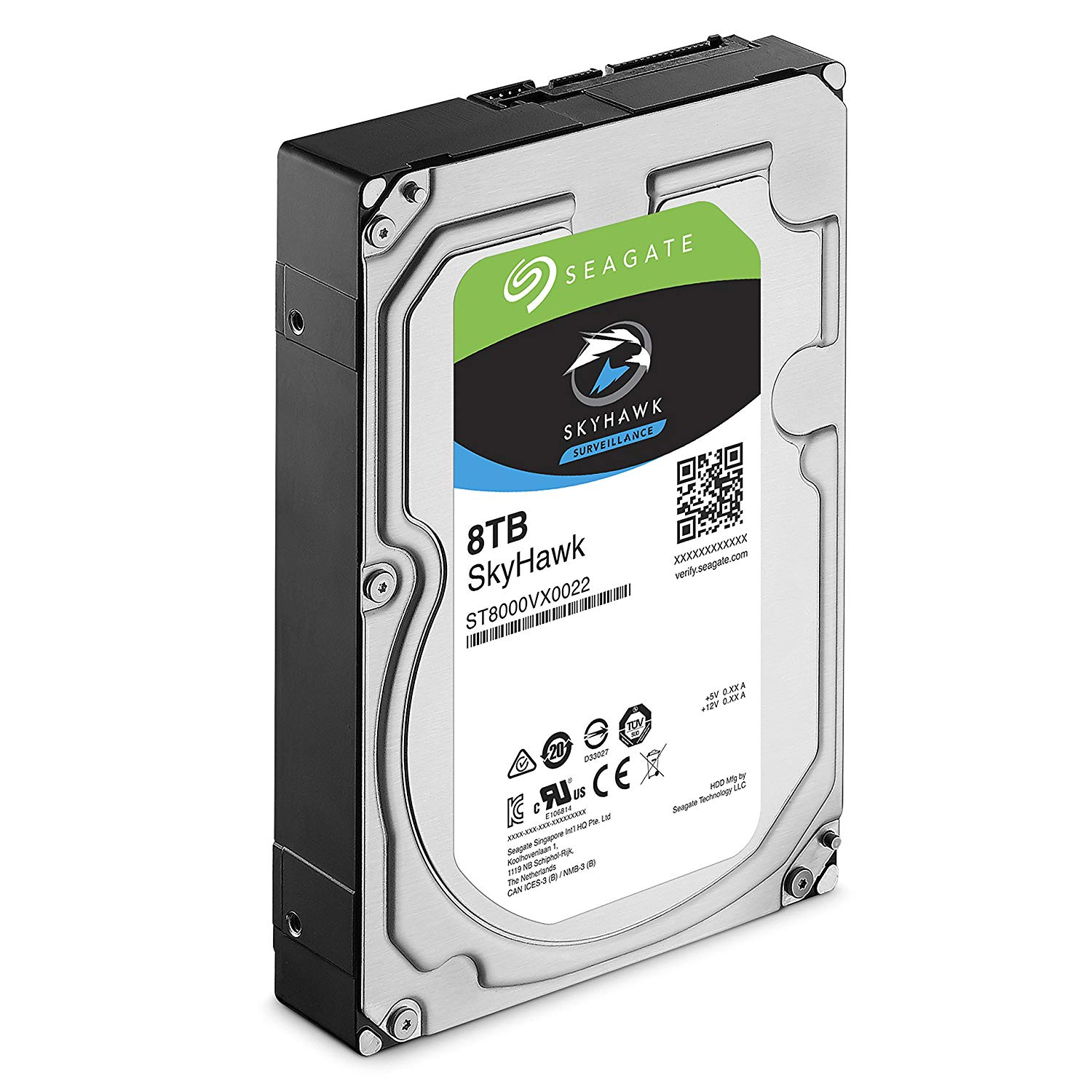 Photo of a Seagate Skyhawk 8TB hard drive for surveillance.