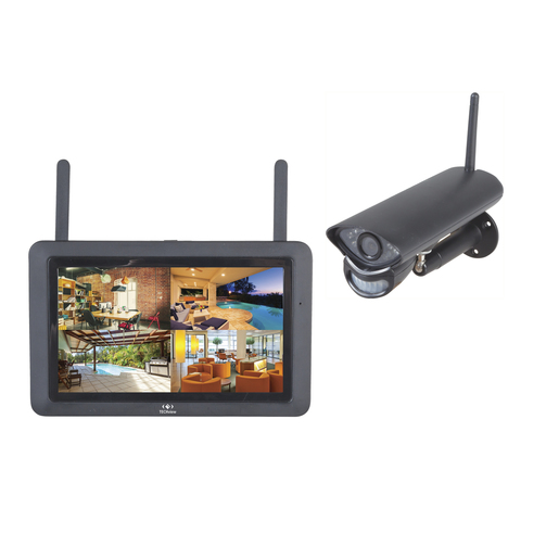 Photo of a 2.4GHz wireless 720p surveillance kit that includes a 7 inch LCD display and a 720p wireless camera.