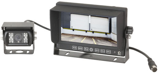 Photo of a wired reversing camera with a 7 inch LCD display.