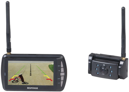 Photo of a wireless 4.3 inch screen long range reversing camera kit.