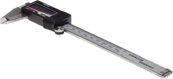 Photo of a pair of digital vernier calipers 150mm with LCD screen.