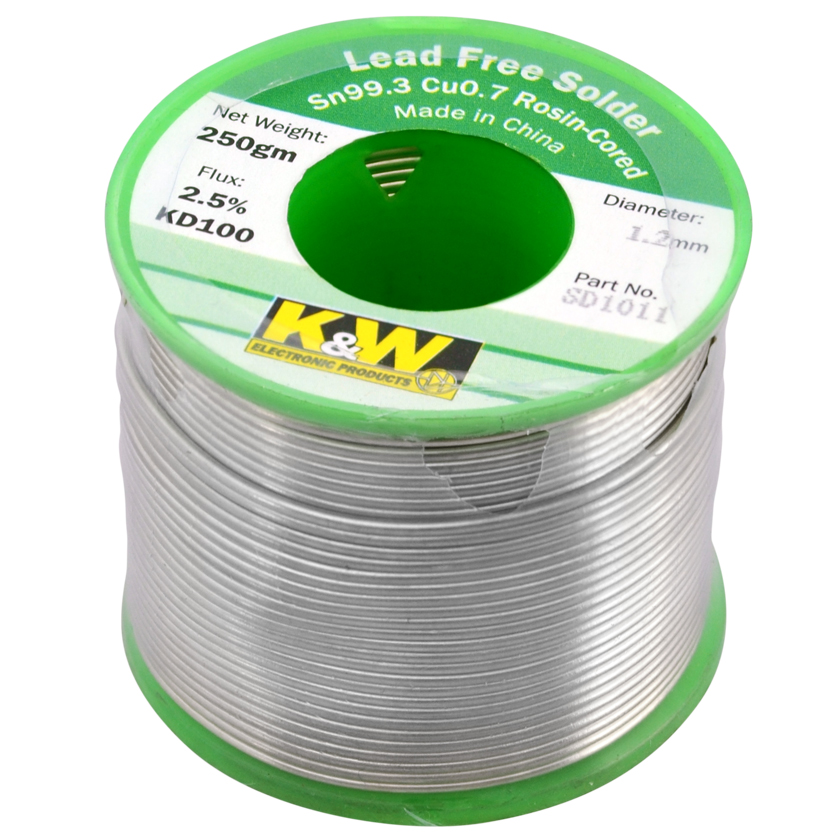 Photo of a 1.2mm lead free solder roll 250gm.