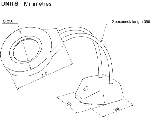 Technical illustration showing the dimensions of a standard maggylamp.