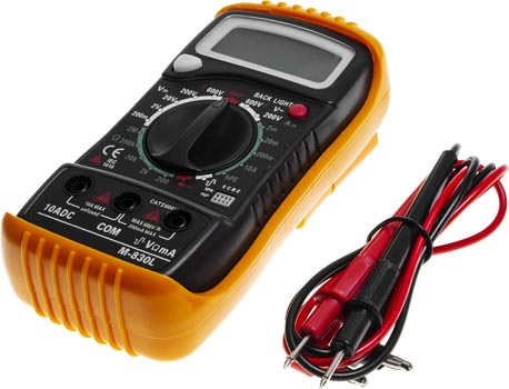 Photo of an M830L digital multimeter voltage tester and ammeter circuit tester.