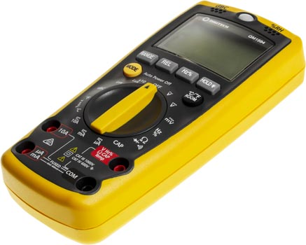 Photo of a 5-in-1 digital sensor multimeter, taken on an angle.