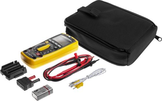 Photo of a 5-in-1 digital sensor multimeter. Also comes with test leads, k-type thermocouple, 9V battery, carry case and user manual.