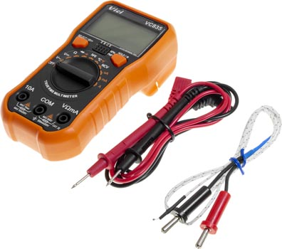 Photo of a mini multimeter with LCD display and included cables.