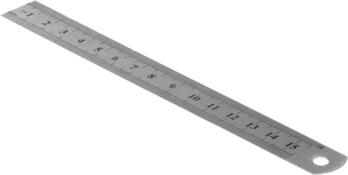 Photo of a stainless steel ruler 155mm.