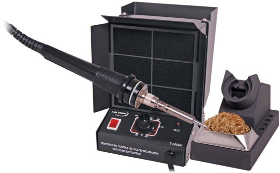 Photo of a 60W soldering iron and 240V fume extractor made of metal.