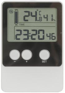 Photo of a USB temperature and humidity data logger, taken from the front.