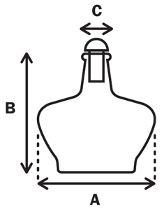 Alcohol Burner 250ML Dimensions. A = max width, b = height and c = width of top