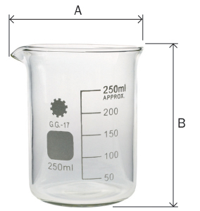 Beaker Glass Borosilicate Dimensions. A = total width and b = height