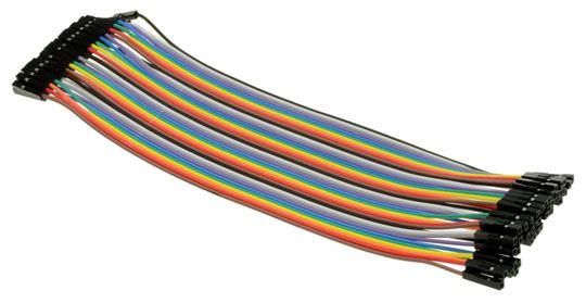 Jumper Connector Leads Fem-Fem 200mm Rainbow Pk 40