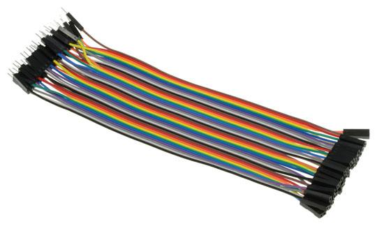 Jumper Connector Leads Male-Fem 200mm Rainbow Pk 40