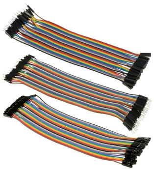 Jumper Lead Set of 3 X 40Pk Strips Rainbow 200mm (Male-Fem, Male-Male, Fem-Fem)