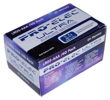 Pro-Elec Ultra Alkaline Batteries AAA - Pack of 40