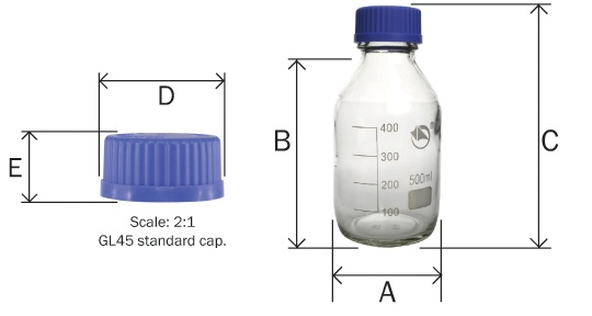 Reagent Bottle Dimensions. A = width of base, b = height of bottle, c = total height including cap, d = width of cap and e = height of cap