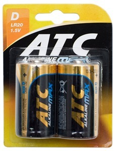 BATTERY ALKALINE ATC MAX D - 2 PACK