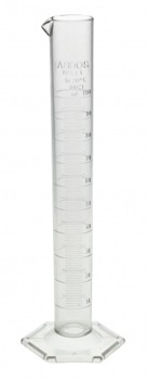 GRADUATED TPX CYLINDER WITH SPOUT & HEX BASE 100ML
