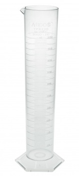 GRADUATED TPX CYLINDER WITH SPOUT & HEX BASE 2000ML