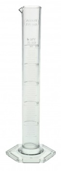GRADUATED TPX CYLINDER WITH SPOUT & HEX BASE 25ML