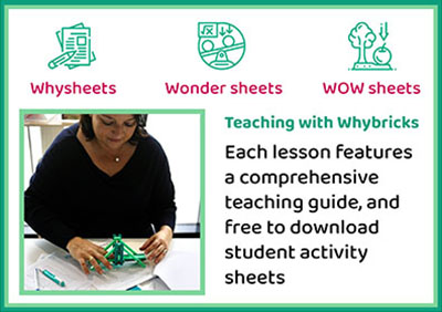 Teaching with Whybricks. Each lesson features a comprehensive teaching guide, and free to download student activity sheets.